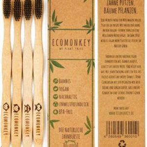 4er Set Bambuszahnbürsten